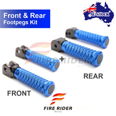 For Buell X1 Lightning All Year Front + Rear Pair Blue CNC Pole Footpegs