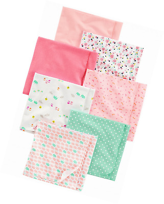 Simple Joys by Carter's Baby Girls' 7-Pack Flannel Receiving Blanket, Pink/White
