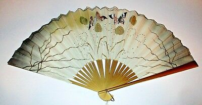 Antique Chinese Embroidered Silk Hand Fan Butterflies Sequin Dandelions Painted