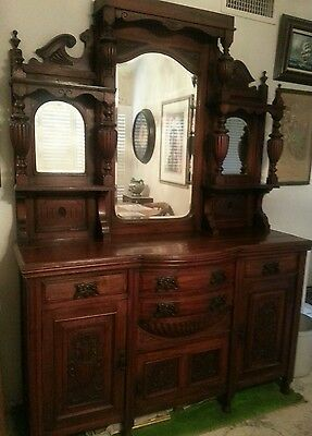 RARE Victorian English Sideboard Server carved Antique Furniture 1860's 1870's ?