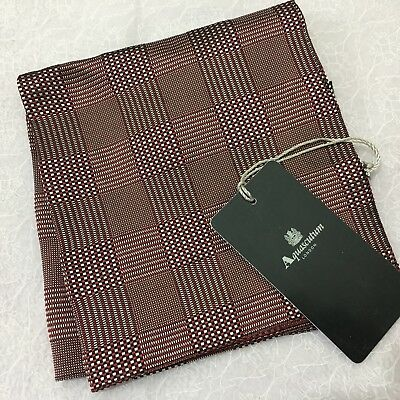 Silk Pocket Square AQUASCUTUM Italian RED BLACK WHITE WOVEN CHECK POCHETTE HANK