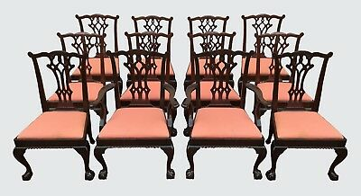 Chippendale Style Set Of 12 Antique Mahogany Dining Chairs & Masterpieces! - CHIPPENDALE STYLE SET Of 12 Antique Mahogany Dining Chairs