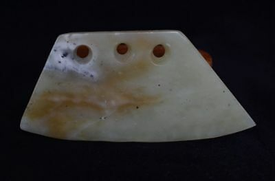 Chinese QiJia Culture Style Sacrificial Ceremony Three Holes Jade Knife-JR12526