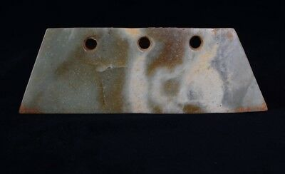 Chinese QiJia Culture Style Sacrificial Ceremony Three Holes Jade Knife-JR12531