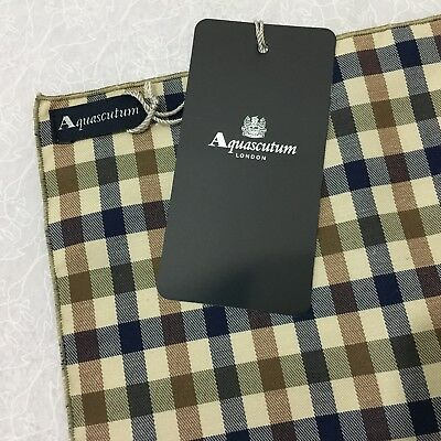 Italian Pocket Square AQUASCUTUM BLUE BROWN WOVEN GINGHAM CHECK POCHETTE HANK