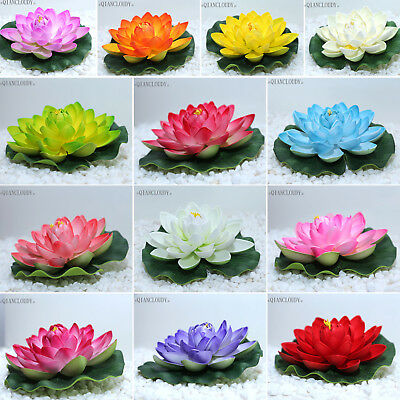 10pcs Artificial 17cm Lotus Leaf flowers Water Lily Floating Pool Plants wedding