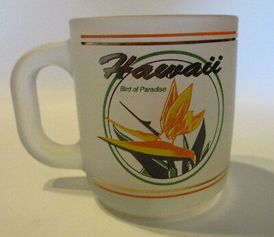 HAWAII Bird of Paradise Mug Frosted Glass Souvenir Coffee Cup