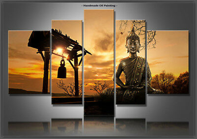 Large Framed Wall Art Hand Painted Modern Feng Shui Buddha Oil Painting Canvas