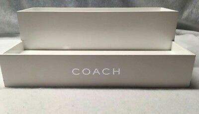 Rare Authentic White Wooden Coach Display For Clutches, Purses, And Wallets