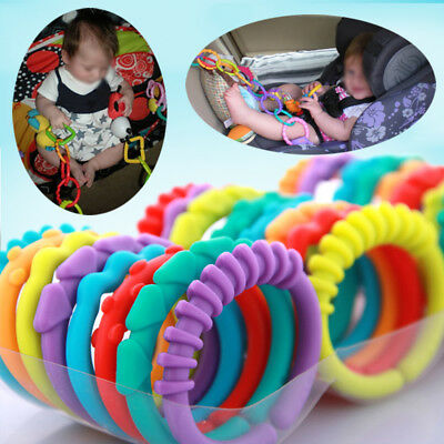 24pcs Colorful Teether Ring Links Baby Stroller Gym Play Mat Toys