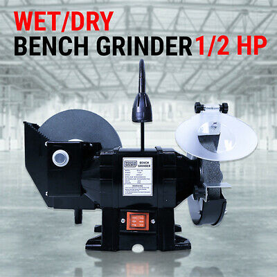 "8"" 6"" Wet & Dry Bench Grinder 1/2HP 375W 200mm Knife Sharpener Power Tool Indust"