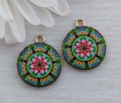 Flower Mandala Charms 2pcs - Pink and Green - Yoga Bracelet Charms  CH114