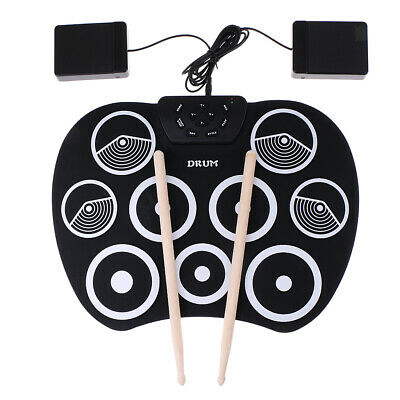 9 Pad Digital Electronic Drum Silicone Foldable Roll Up Pedal Pad Drumsticks