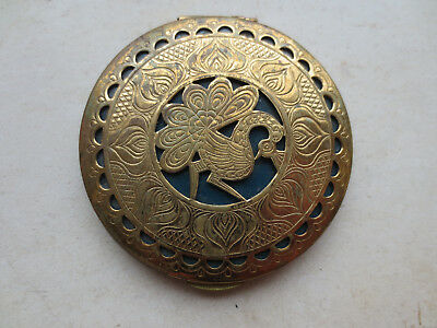 GOURGEOUS ANTIQUE Vintage Folklore Gilded Hand Mirror Gold plated - VERY RARE!