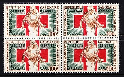 Gabon 1965 Air. Gabon Red Cross - MNH Block - Cat £8 - (258)
