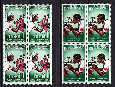 Gabon 1966 Air. Red Cross - Two MNH Blocks of 4 - Cat £15 - (264)