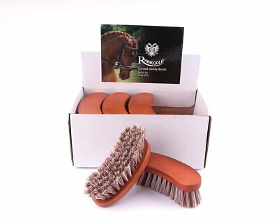 Rhinegold Curved Dandy Brush, Wooden Backed, Horse & Pony Grooming