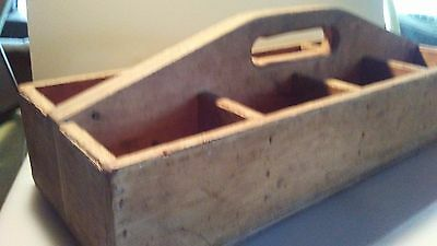 Wood Carpenter Tool Box Tote Vintage Wooden Hand Made Old Primitive