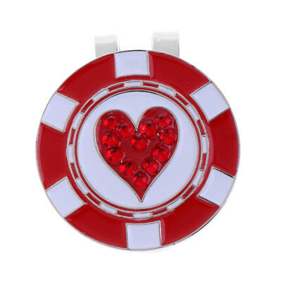 Durable Golf Ball Marker Magnetic Golf Hat Clip Cap Clip Red Heart