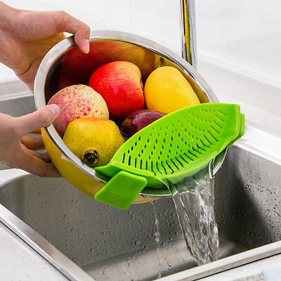 Food Pan Clip-on Strainer Colander For All Pots Bowls Draining Liquid Separate