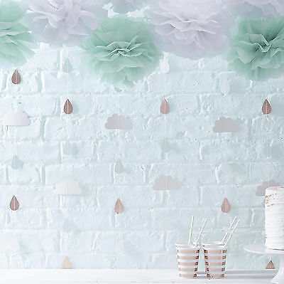 HELLO WORLD BABY SHOWER BACKDROPS Rose Gold Clouds Decorations Gender Reveal