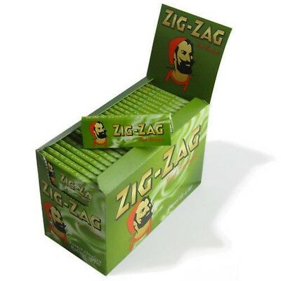 Zig-Zag Green Cigarette Rolling Papers Cut Corners 100 Booklets Finest Full Box