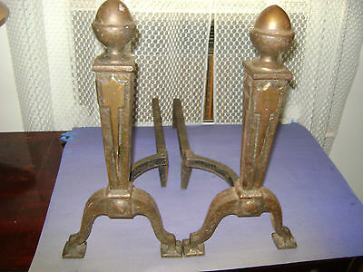 Andirons Vintage,antique Rare Solid Cast Iron Mix Look Like Brass/bronze