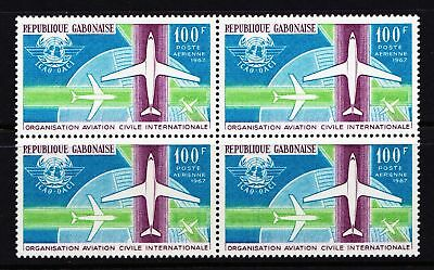 Gabon 1967 Civil Aviation Commemoration - MNH Block of 4 - Cat £8.80 - (270)