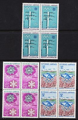 Gabon 1967 Publicity for Mexico Olympic Games - 3 MNH Blocks Cat - £12 - (271)