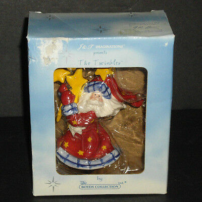 2003 Boyds The Twinkles Chris Sparkelklause Pottery Bell Ornament NEW in Box