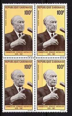 Gabon 1968 Chancellor Konrad Adenauer - MNH Block of 4 - Cat £11 - (274)