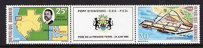 Gabon 1968 Air. Laying of First Stone, Owendo Port - MNH Gutter Pair - (275)