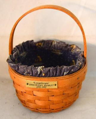 Longaberger Discovery Basket 1492-1992 With Liner ~Ss2~
