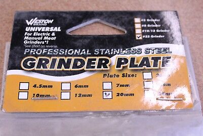 Weston Professional Stainess Steel Grinder Plate 29-2220 #22 20mm