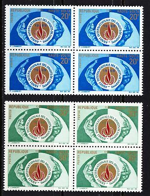 Upper Volta 1968 Human Rights Year - Two MNH Blocks of 4 - (298)