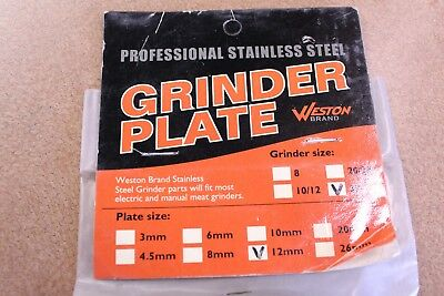 Weston Professional Stainess Steel Grinder Plate 29-3212  #32 12mm