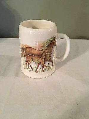 Vtg Enesco 1983 Horse Mug, Mother & Colt, Intercontinental Greetings,