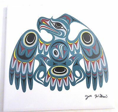 Joe Wilson, Signed Coast Salish Ceramic Art Tile/Trivet, Made in Canada