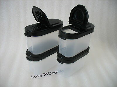 Tupperware SMALL Spice Shaker Set of 4 Jet Black Seals New 1/2 Cup Spices
