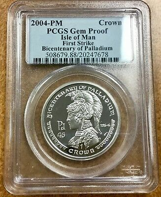 {BJSTAMPS} 2004-PM  PCGS Gem Proof Isle of Man 1st strike 1 oz. Palladium Athena