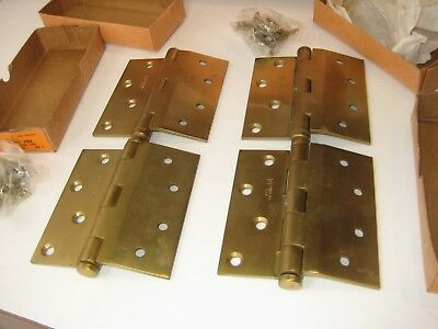 NOS Solid Brass Lawrence Bros Half Surface Butt Door Hinges Screws Box Set Pair