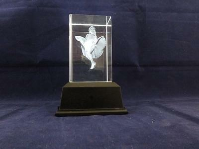 Solid Glass Crystal Laser Block and White Light Box - Marilyn Monroe.