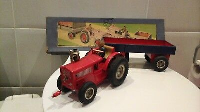 GAMA West Germany 50's TRACTOR AND TRAILER boxed wind up