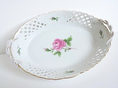 Meissen Pink Rose Porcelain Tray Dish Handles Pierced Reticulated Lattice Gold