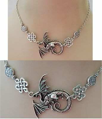 Silver Winged Dragon Strand Necklace Jewelry Handmade NEW adjustable Accessories