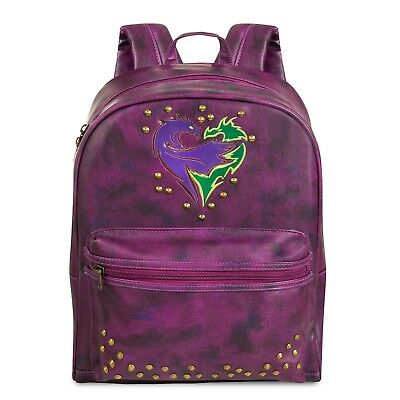 Disney Store Descendants 2 Backpack Faux Leather Purple Mal Evie Uma NEW B91