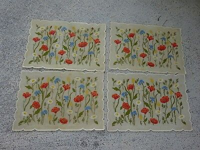 Vintage Retro MCM STOTTER Kitchen VINYL Floral Placemats Lot of 4