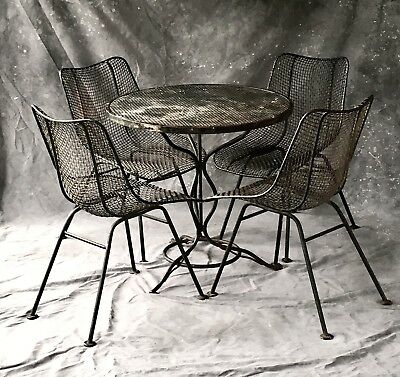 Mid Century Modern Russell Woodard SCULPTURA 5 PC Wrought Iron Patio Dining Set