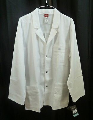 Dickie's Men's Gen Flex Snap Front Lab Coat White Size XL