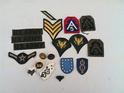 Vintage WWII US Army Military Patches and Pins Lot